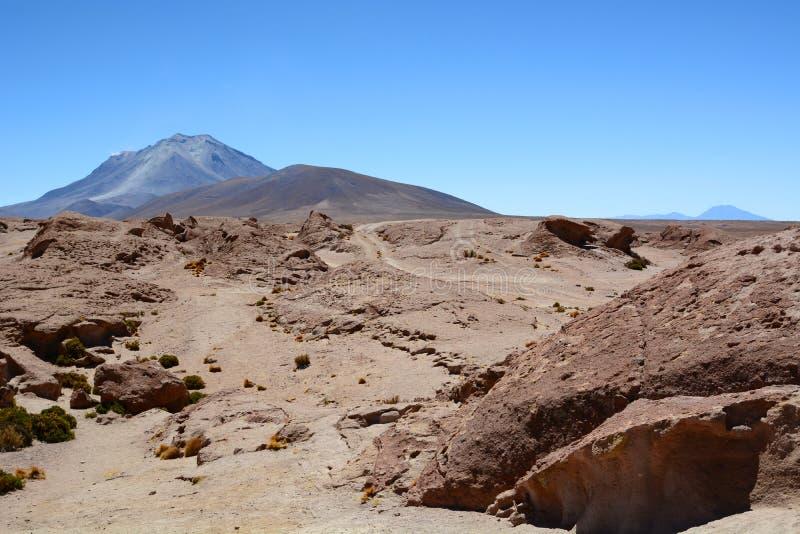 Ollague从玻利维亚的边的火山视图 PotosÃ部门 流星锤 免版税图库摄影
