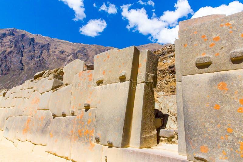 Ollantaytambo、秘鲁,印加人废墟和考古学站点在Urubamba,南美。 免版税库存图片