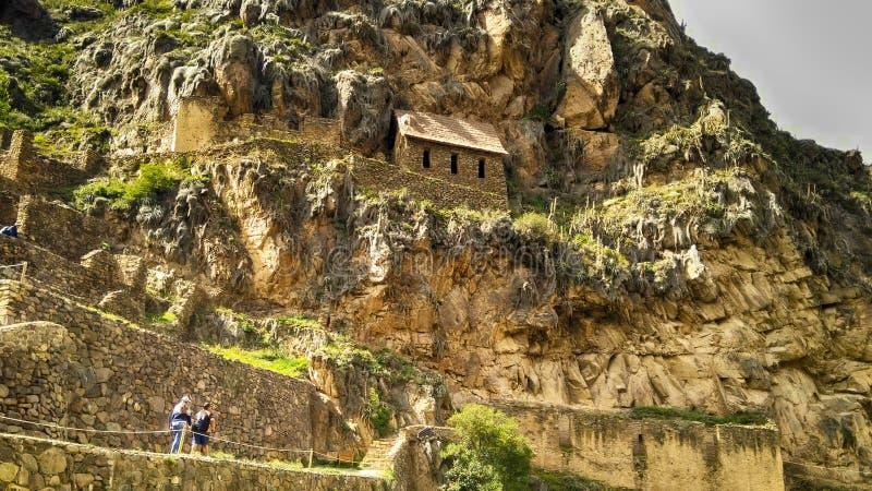 ollantaytambo考古学复合体的印加人房子 免版税库存图片