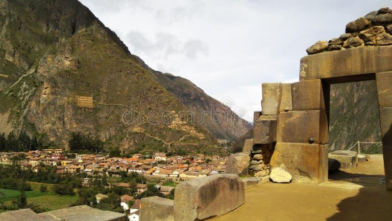 Ollantaytambo考古学站点在神圣的谷的 库存照片
