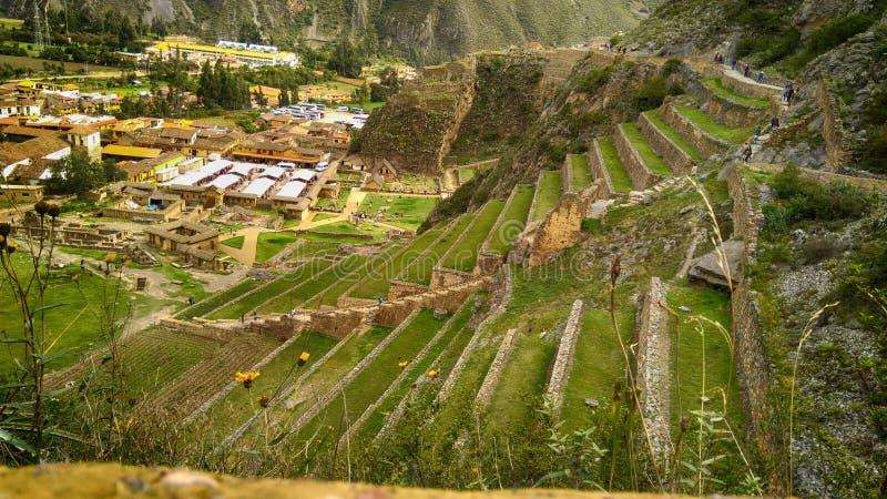 Ollantaytambo考古学站点在神圣的谷的 免版税库存图片