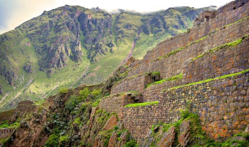 Ollantaytambo, παλαιό φρούριο Inca στην ιερή κοιλάδα και στοκ φωτογραφία με δικαίωμα ελεύθερης χρήσης