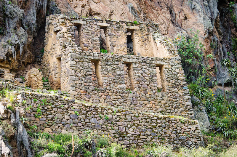 Ollantaytambo - παλαιό φρούριο Inca στην ιερή κοιλάδα στις Άνδεις, στοκ εικόνες