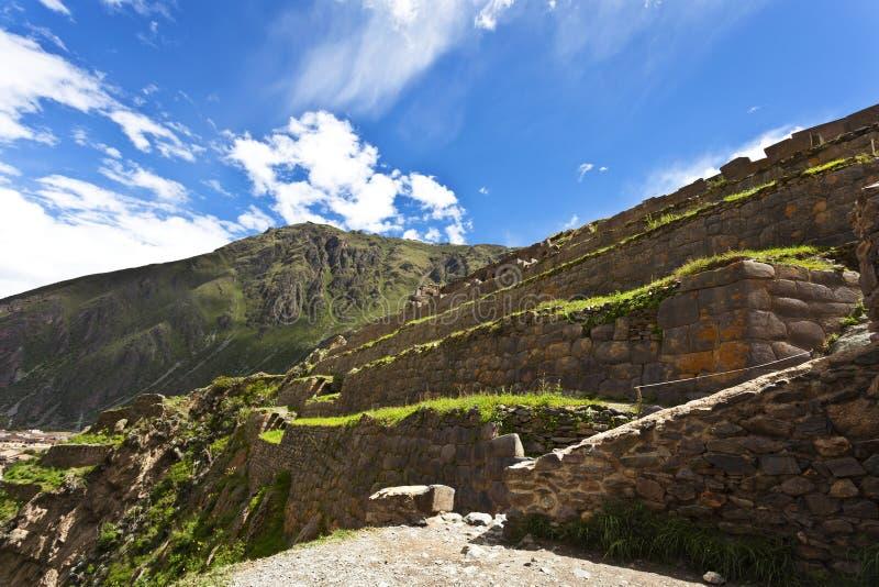 Ollantaytambo -神圣的谷印加人废墟-秘鲁 库存图片