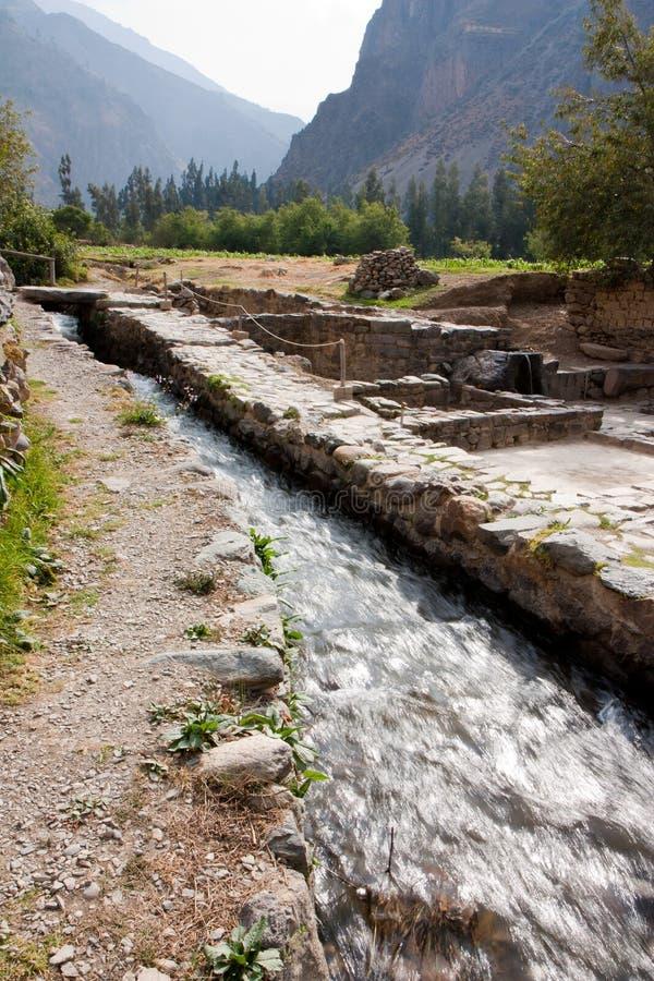 Ollantaytambo - een Aquaduct royalty-vrije stock afbeelding
