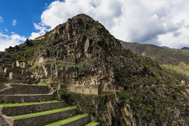 Ollantaytambo fördärvar, i Peru royaltyfri foto