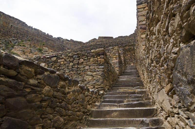 Ollantaytambo, Pérou Ruines d'Inca Fortress sur le Temple Hill photo libre de droits