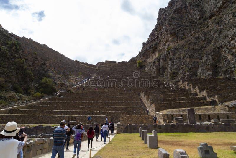 Ollantaytambo, Perú 17 de enero de 2019, ruinas y terrazas - Ollantaytambo, valle sagrado, Perú del inca de Ollantaytambo fotos de archivo libres de regalías