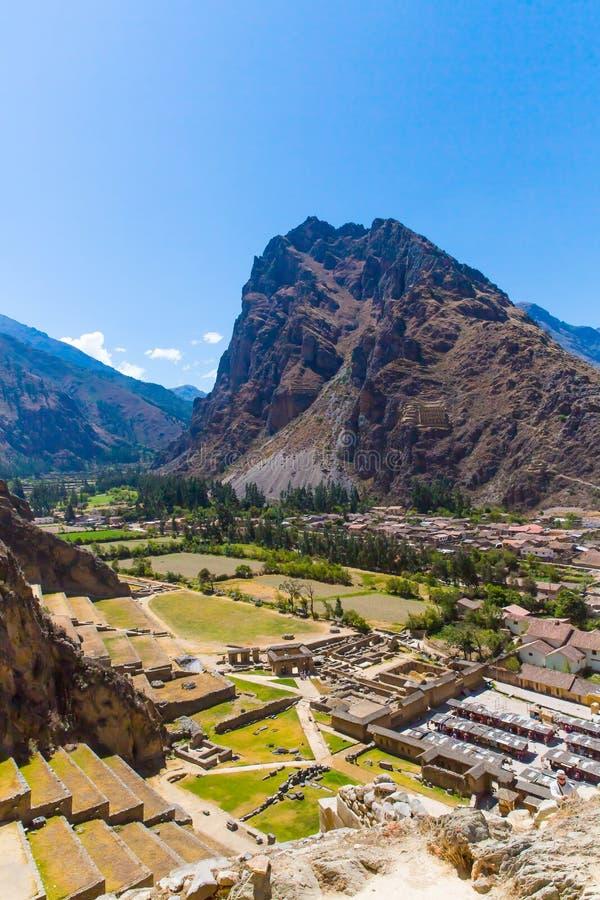 Ollantaytambo Peru, Inca fördärvar och den arkeologiska platsen i Urubamba, Sydamerika. arkivfoton
