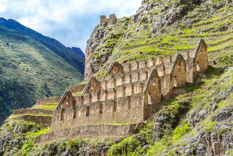 Ollantaytambo, Peru, Sacred Valley, ruins. Pinkuylluna, ruins of ancient Inca storehouses located on mountains, Sacred Valley, Ollantaytambo, Peru stock photography