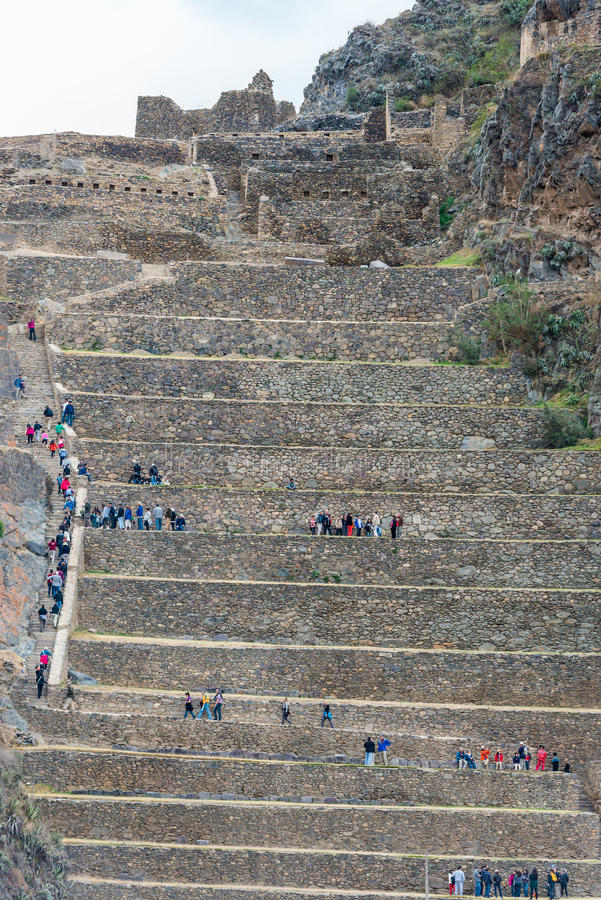 Ollantaytambo ruïneert de Peruviaanse Andes Cuzco Peru royalty-vrije stock fotografie