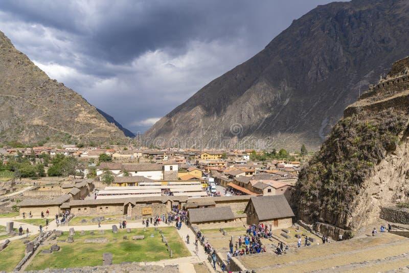 Ollantaytambo in valle sacra del Perù immagini stock libere da diritti