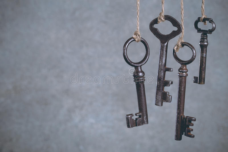 Olld keys hanging on cool stock photography