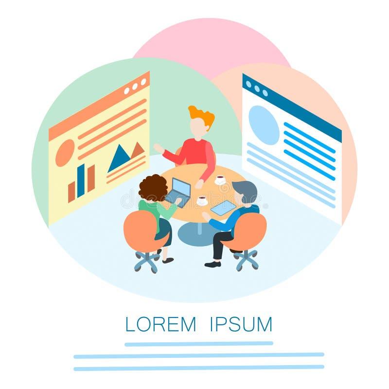 Olleagues bak den runda tabellen i kontoret för diskussion av stock illustrationer