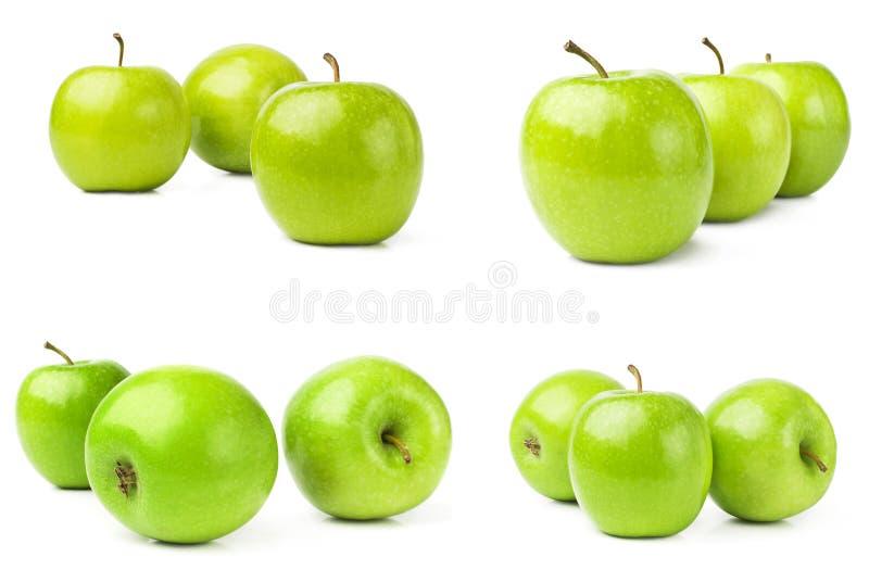 Ollection Ð ¡ van groene die appelen op een witte achtergrond wordt geïsoleerd royalty-vrije stock afbeeldingen