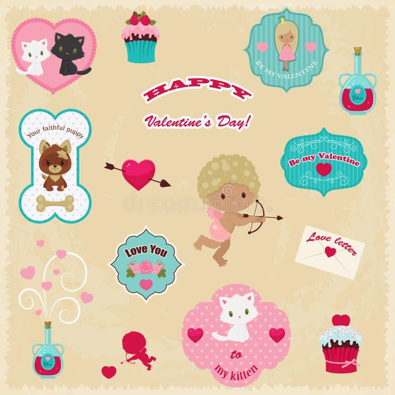 Ollection Ð ¡ van de Dag vectorpictogrammen van Valentine stock illustratie