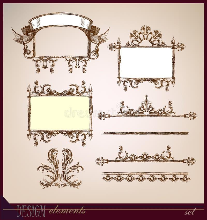 Ollection av dekorativa beståndsdelar, inramar och gränsar stock illustrationer