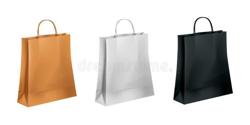 Ollection del ¡de Ð de bolsas de papel en tres colores: marrón, blanco y negro stock de ilustración