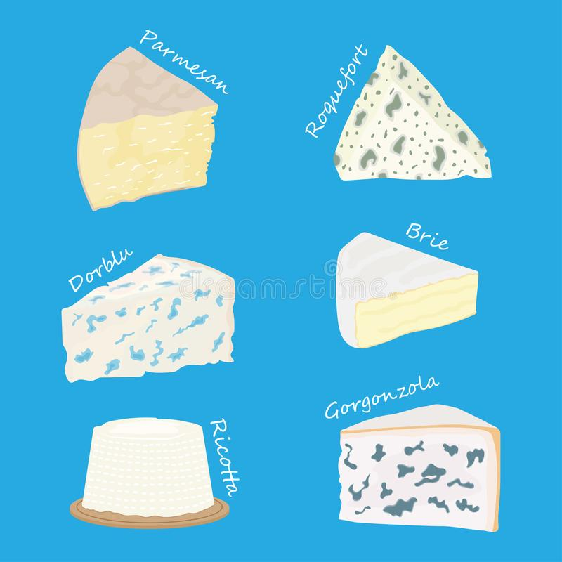 Ollection des fromages parmesan, brie, fromage de roquefort, Gorgonzola illustration de vecteur