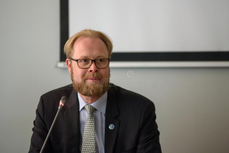Olli Kantanen, Ambassador of Finland to Latvia. 28.05.2018. Olli Kantanen, Ambassador of Finland to Latvia at Upgrade 2018 press conference in Riga, Latvia stock photography