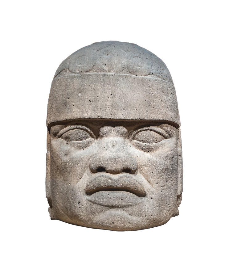 Olmec colossal head isolated. Ancient Olmec colossal head isolated stock images