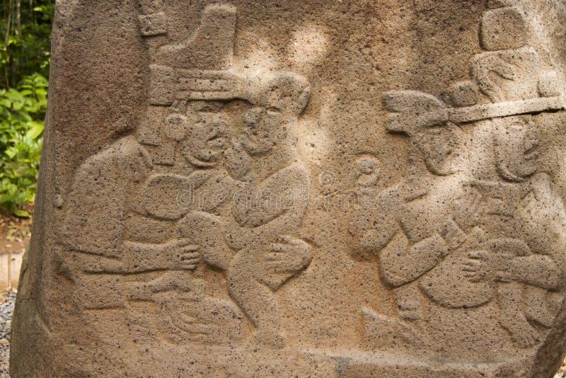 Olmec hällristningskulptur, Olmec det arkeologiska museet, La Venta parkerar Villahermosa tabasco, Mexico arkivfoton