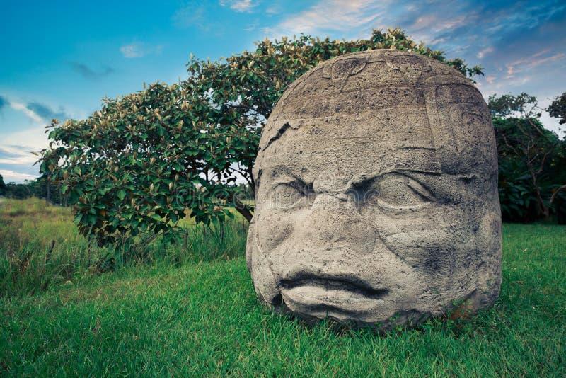 Olmec kolossalt huvud i staden av La Venta, tabasco arkivbild