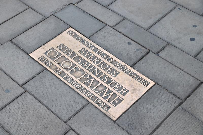 Olof Palme assassination. STOCKHOLM, SWEDEN - AUGUST 22, 2018: Memorial plaque at the location of assassination of Olof Palme, Prime Minister of Sweden at stock photos