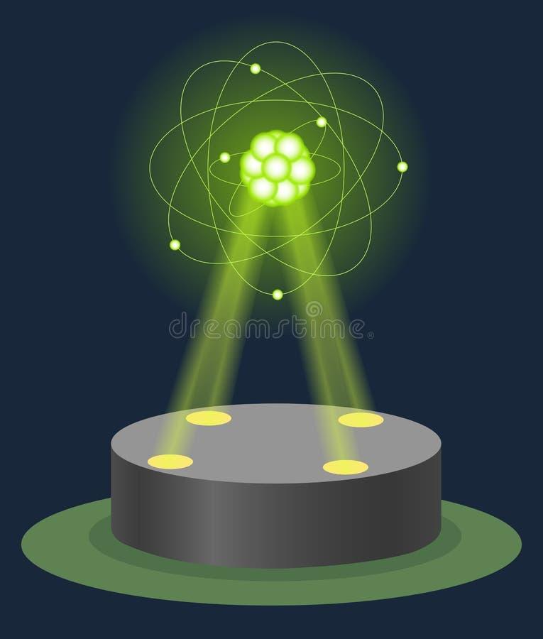 Ologramma della struttura dell'atomo di carbonio del museo dell'innovazione sul piedistallo illuminato Fisica di tecnologia e lez illustrazione di stock