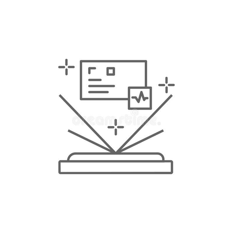 Ologramma, icona della tecnologia Elemento dell'icona del mondo del futuro Icona sottile per la progettazione e lo sviluppo del s illustrazione vettoriale