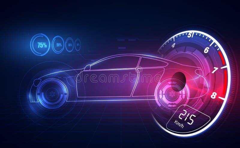Ologramma nello stile di HUD UI Servizio futuristico dell'automobile, esame e analisi dei dati automatica, interfaccia grafica vi illustrazione vettoriale