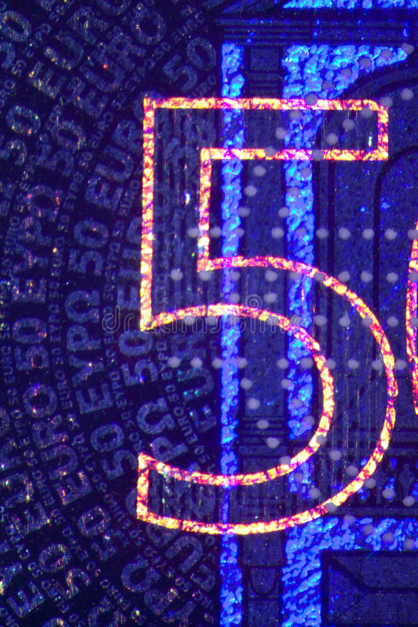 Ologramma su euro Bill immagini stock libere da diritti