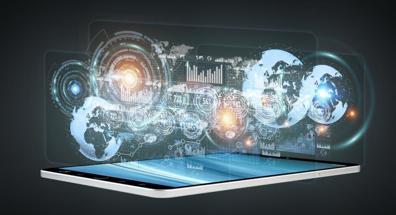 Ologrammi di Digital con i grafici degli schermi sopra il rende del telefono cellulare 3D royalty illustrazione gratis