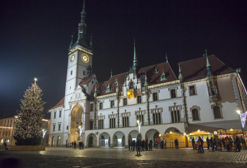 Olomouc City Hall. The night view of a main square with a historic Olomouc town hall and Christmas tree Czech Republic royalty free stock photos