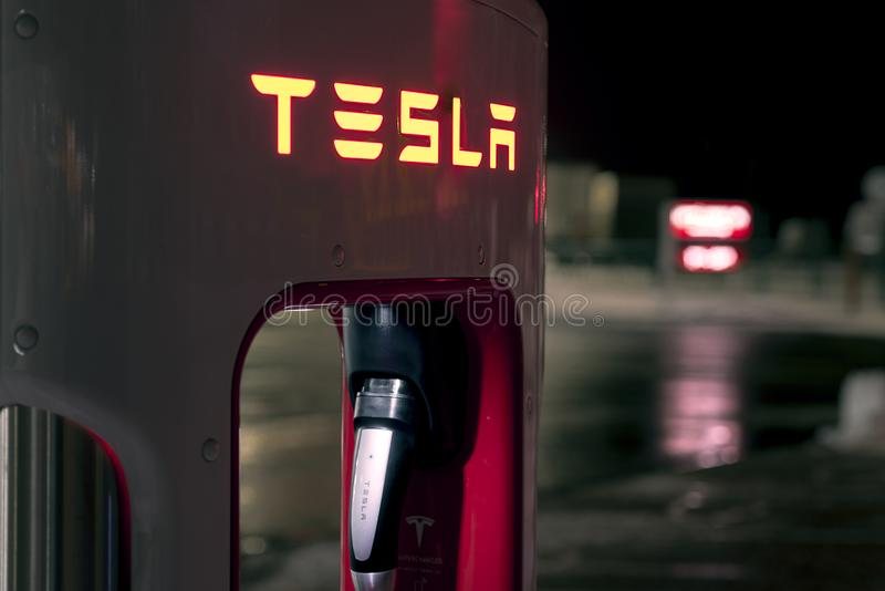 Olomouc Czech Republic January 16th 2018 - Detail of a Tesla rapid charger at night royalty free stock photo