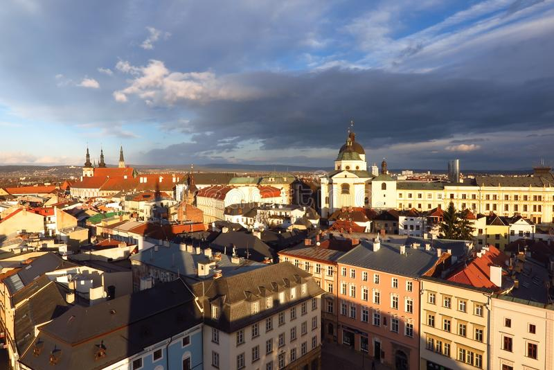 Olomouc, Czech Republic skyline city view from Town Hall. Olomouc, Czech Republic skyline cityscape view of church domes and spires from the Town Hall Tower royalty free stock photos