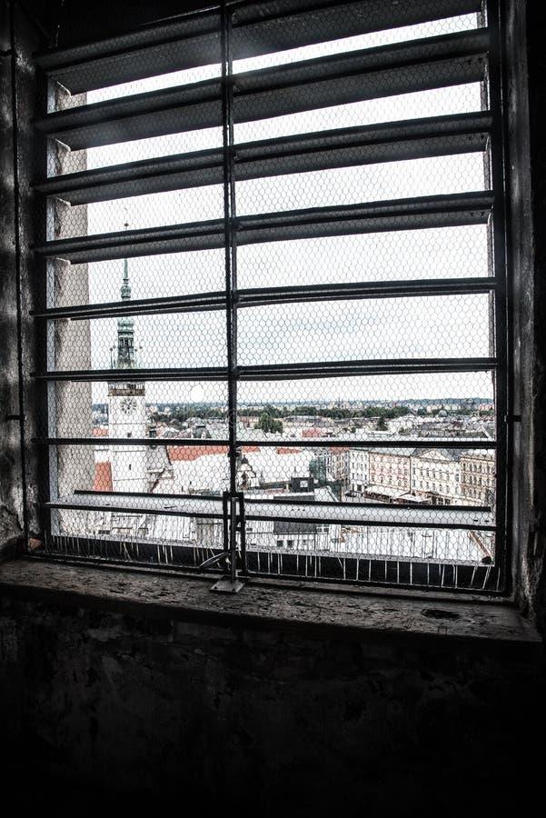 Olomouc widzieć przez okno fotografia stock