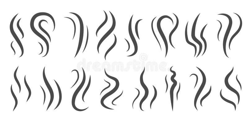 Olor de iconos Calefacción, pictogramas de perfume de aroma, humos y colas de rosca Vapor de evaporación de cigarrillos, humo de  stock de ilustración