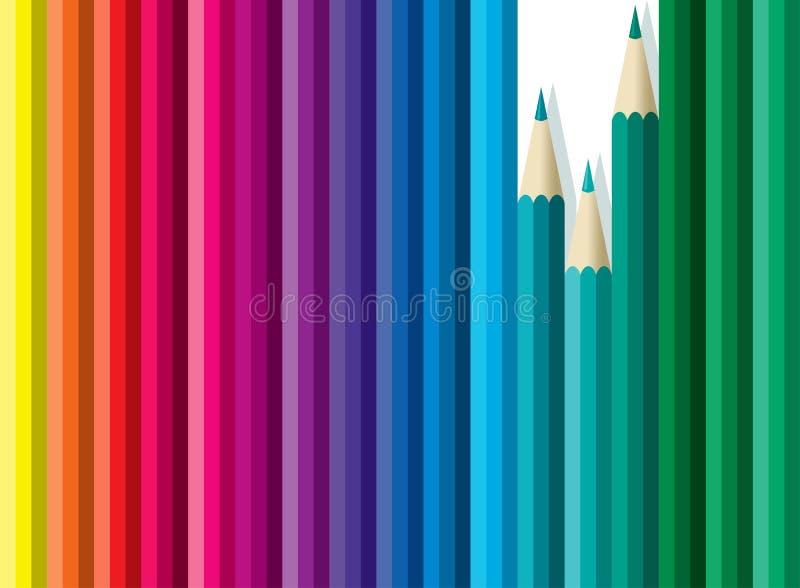 olored blyertspennor royaltyfri illustrationer