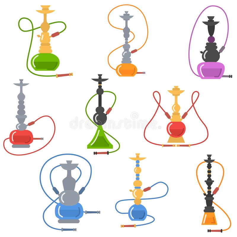 Olorful set of hookah labels of different shapes and design elements. Vector illustration isolated on white background stock illustration