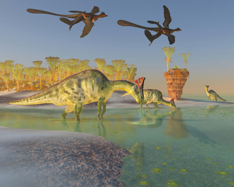 Olorotitan no pântano ilustração royalty free