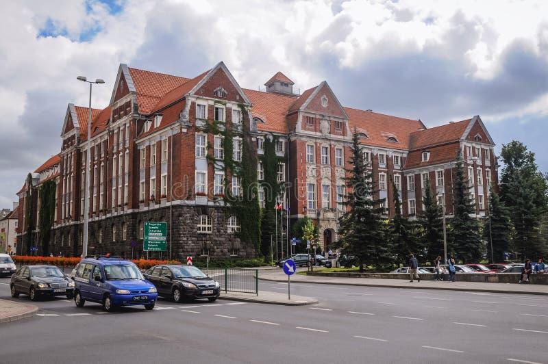 Olsztyn in Poland. Olsztyn, Poland - August 18, 2010: Warmian-Masurian Voivodeship Office and Provincial Administrative Court building in Olsztyn city stock photos
