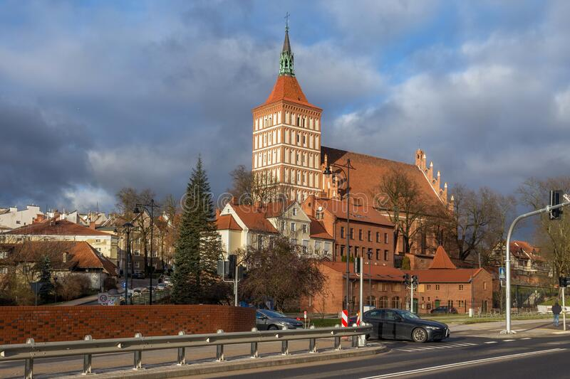 OLSZTYN, POLAND - DECEMBER 31, 2018: View of the catholic Cathedral of St. Jakub Jacob in the Olsztyn. The church building was. Built in the Gothic style in the royalty free stock images