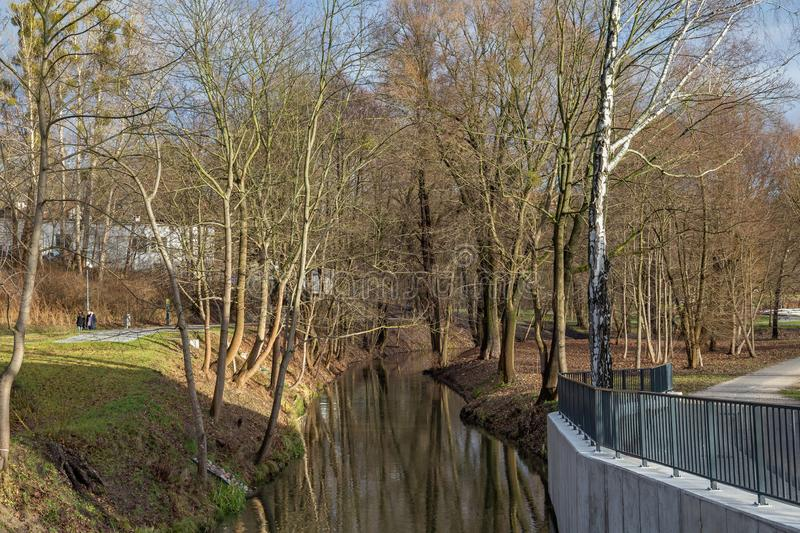 OLSZTYN, POLAND - DECEMBER 31, 2018: View of the Lyna river in the Park Centralny in Olsztyn. The park has an area of about. 13 ha. His space stock image