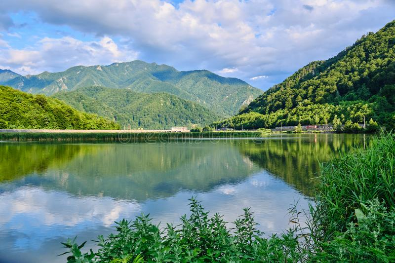 Olt Defile in a Summer afternoon, a defile that has been cut into the Transyvanian Alps in south-central Romania by the river Olt.  royalty free stock images