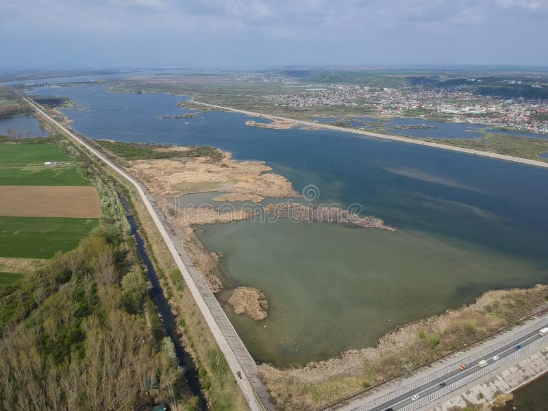 Olt river wetland area near Slatina , Romania. Aerial view of the wetland area up stream of Olt river near Slatina City, Romania stock photo