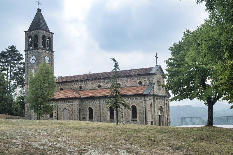 Oltrepo Pavese Włochy, Nostra SIgnora Di Montelungo, historyczny c zdjęcia stock