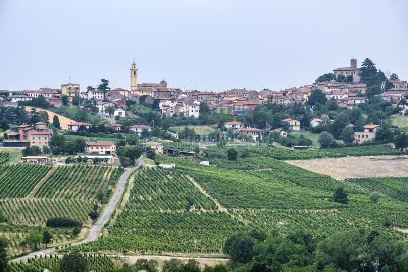 Oltrepo Piacentino Italia, paisaje rural en el verano foto de archivo