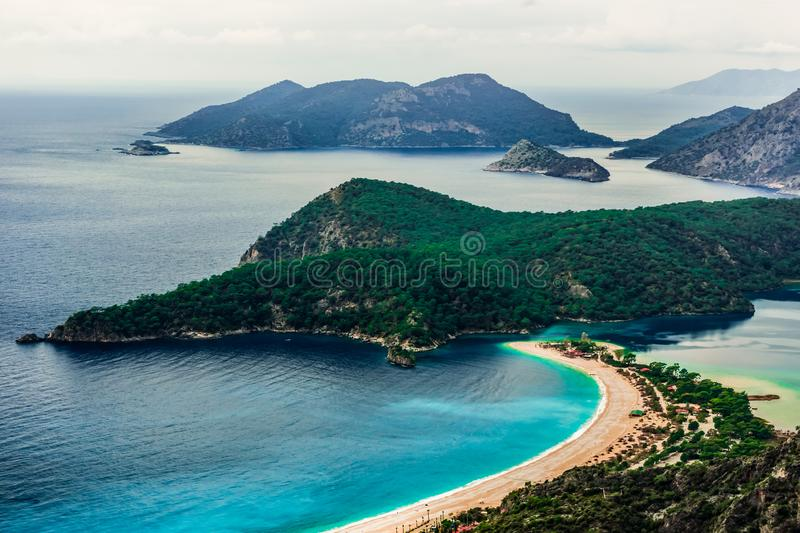 Oludeniz Bay view in Fethiye Town. Amazing landscape from Lycian way. Travel destination. Summer and holiday concept. Blue Lagoon. Detail stock photo