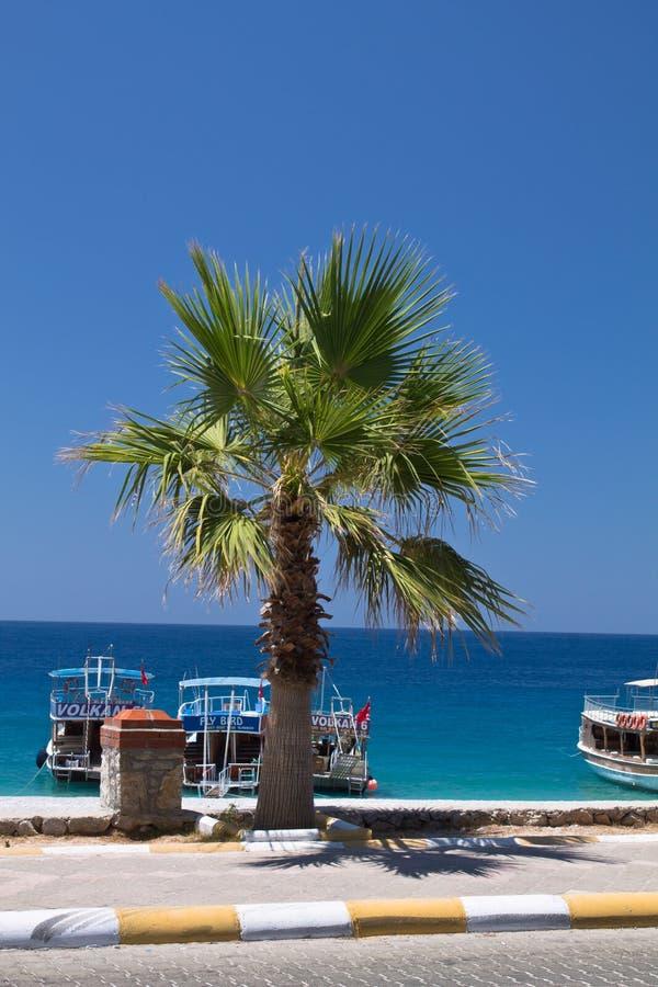 Oludeniz, die Türkei - 10. Juli 2012: touristische Boote auf dem Ufer auf wunderbarem Strand auf türkischem Küstenlinie oludeniz stockbilder